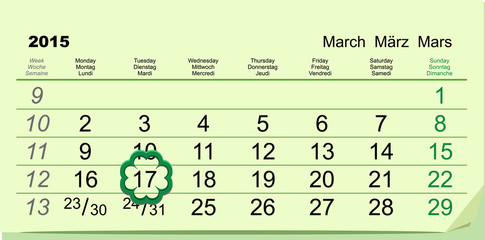 Saint Patricks Day. Calendar March 17