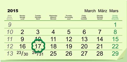 Saint Patricks Day. Calendar March 17