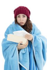 Sick woman feeling cold
