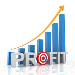 Target profit growth chart, 3d render