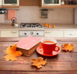 Wooden desk by. Kitchen interior