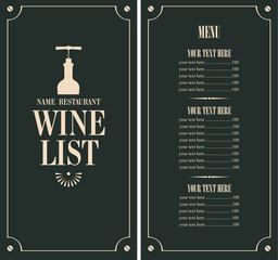 wine list with a bottle and price