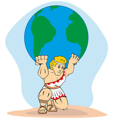 Mythology Titan Atlas carrying the world on his back