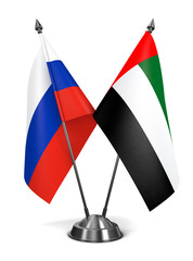 Russia and United Arab Emirates - Miniature Flags.