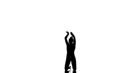 Silhouettes young gymnast doing exercises with Juggling clubs