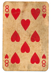 old playing card eight of hearts isolated on white