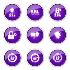 Protection Web Internet Violet Vector Button Icon Design Set