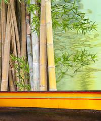 décor aquatique bambous derrière rebord de barque