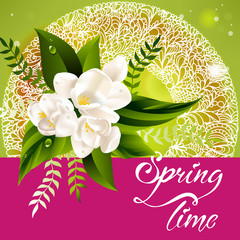 Fresh spring background with white flowers and leaves