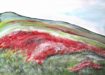 Beautiful impressionistic picture of summer fields