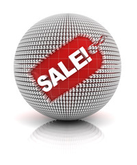 Sale tag on a sphere