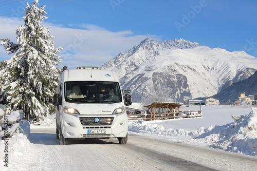 Leinwanddruck Bild Campingreise Südtirol