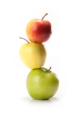 different varieties of apples isolated on white background