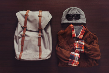 Set of male clothing and backpack