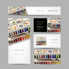 Set of creative business cards design. Paints watercolor