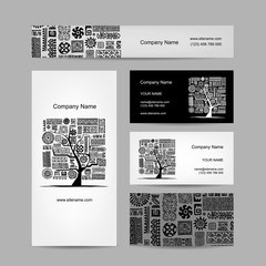 Business cards design, ethnic tree