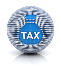 Tax icon on globe formed by dollar sign