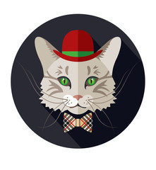 Vector animal, portrait of cat, vintage look, retro style