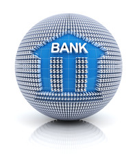 Bank icon on globe formed by dollar sign
