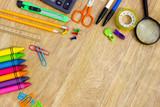 Fototapety Assortment of various school items