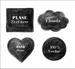 Grunge halftone drawing pensil textures. Vector set.