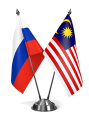 Russia and Malaysia - Miniature Flags.