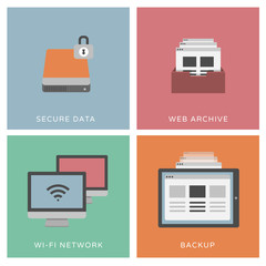 Secure data - set of flat design illustrations