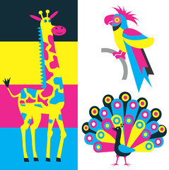 Exotic animals and print colors