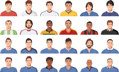 Large group of football player faces. Soccer jersey uniform.