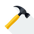 Hammer icon with long shadow on white background