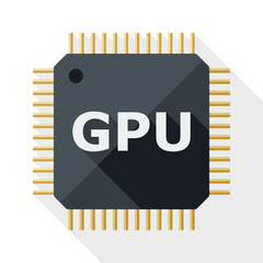 GPU icon with long shadow on white background