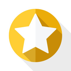 Golden star icon with long shadow on white background