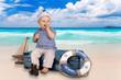 canvas print picture - kleiner Matrose am Strand