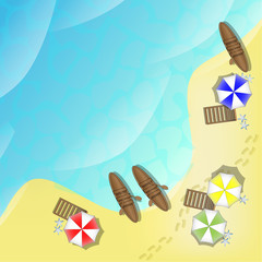 Illustration of beach with sea, boats and parasols