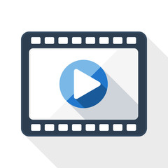 Media player flat icon with long shadow on white background