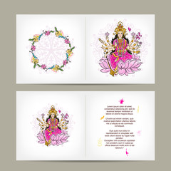 Indian goddess Shakti, postcard design