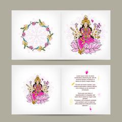 Indian goddess Shakti, postcard design