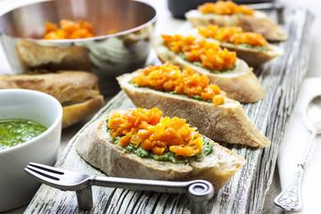 Baguette and carrot dip