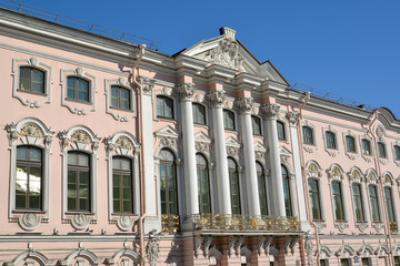 Stroganov Palace, view from Moika River Embankment. St. Petersbu