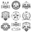 Set of vintage boxing emblems - 78047457