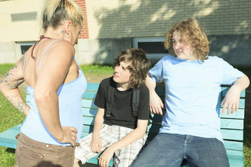 A woman drug dealer at playground school.