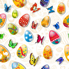 Seamless pattern of easter eggs and butterflies made of paper