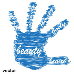 Conceptual health hand sketch word cloud