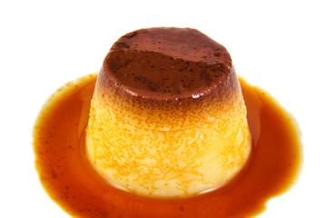 Creme caramel, caramel custard or custard pudding isolated on