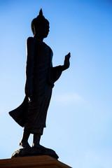 Buddha Silhouette - Rim Light on blue sky, Thailand
