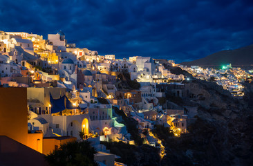 Churches of Oia village at dusk at Santorini