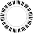 round black and white piano keyboard frame - 78049040
