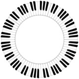 Fototapety round black and white piano keyboard frame