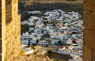 Lindos town as seen from acropolis