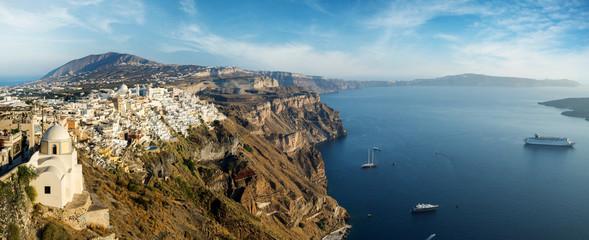 Wide panorama of the Santorini island